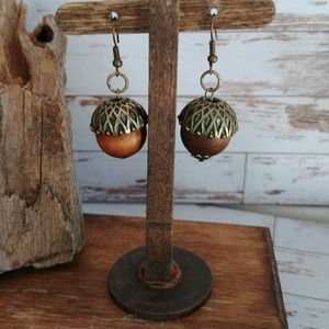 Fall Acorn Wooden Earrings